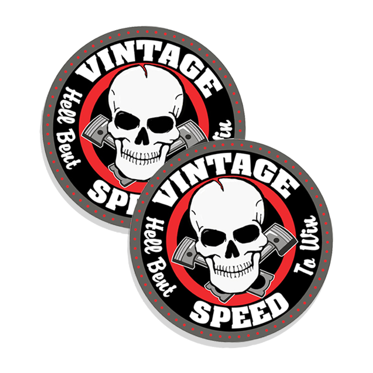 Vintage Speed Hell Bent to Win 2 pack Stickers