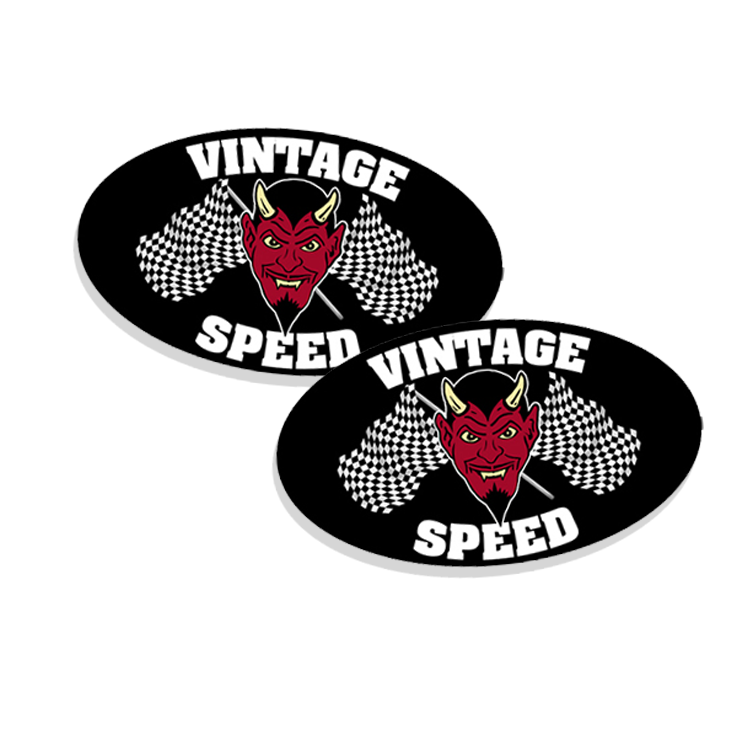 Vintage Speed With Flags Vinyl Sticker