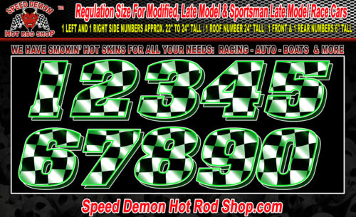 Race Car Numbers Green