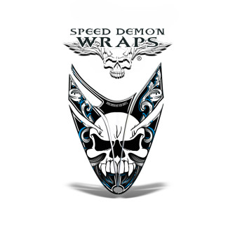 RMK Dragon Snowmobile Sled HOOD GRAPHICS WRAP DECAL Blue Skullen
