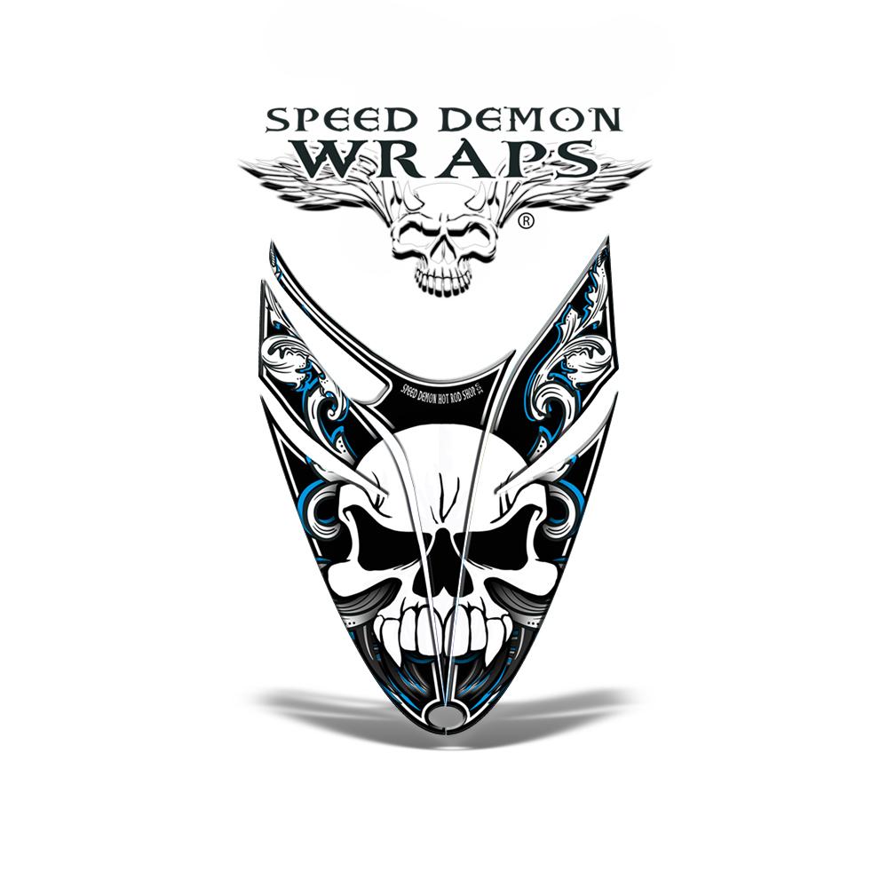 RMK Dragon Snowmobile Sled HOOD GRAPHICS WRAP DECAL Blue Skullen