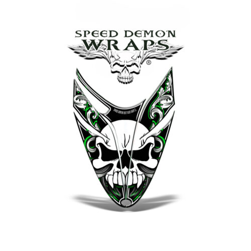 RMK Dragon Snowmobile Sled HOOD GRAPHICS WRAP DECAL Green Skullen