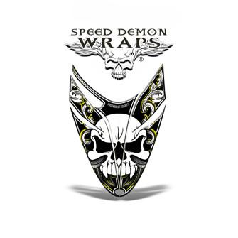 RMK Dragon Snowmobile HOOD GRAPHICS WRAP Yellow Skullen