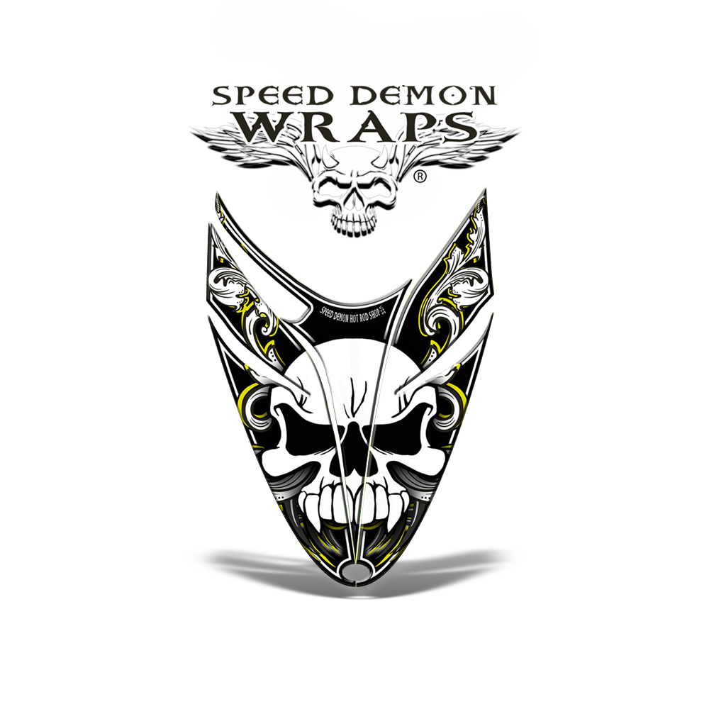 RMK Dragon Snowmobile HOOD GRAPHICS WRAP Yellow Skullen