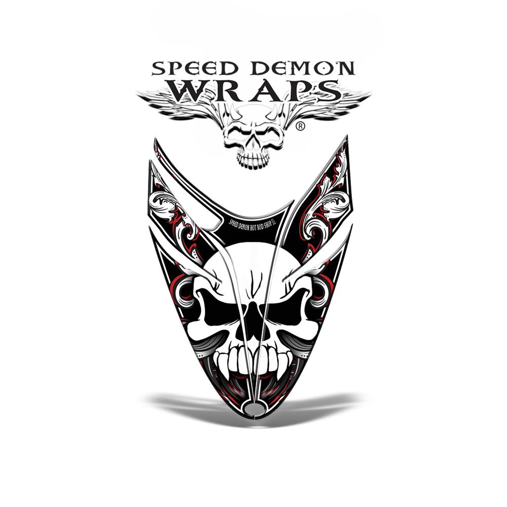 RMK Dragon Snowmobile Sled HOOD GRAPHICS WRAP KIT red Skullen