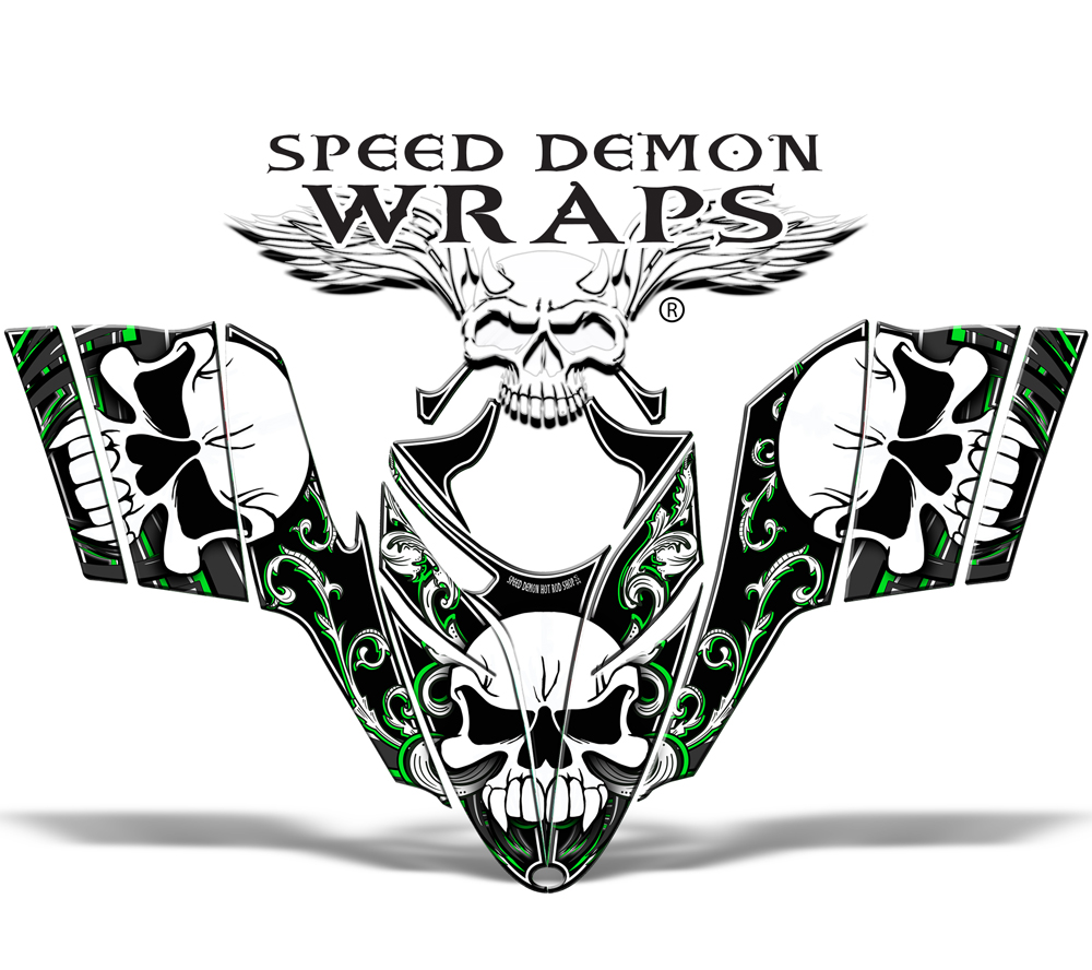 RMK Dragon Wrap Snowmobile Sled Graphics Green Skullen